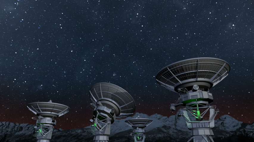 Radio telescope array night time lapse   Shutterstock HD Video #1044853576