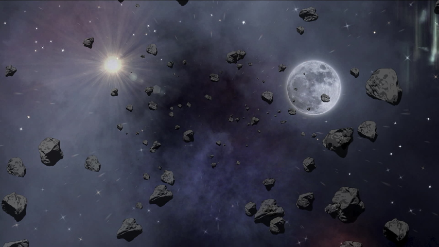 Moon of the outer space inside of asteroids field.   Shutterstock HD Video #1044860596