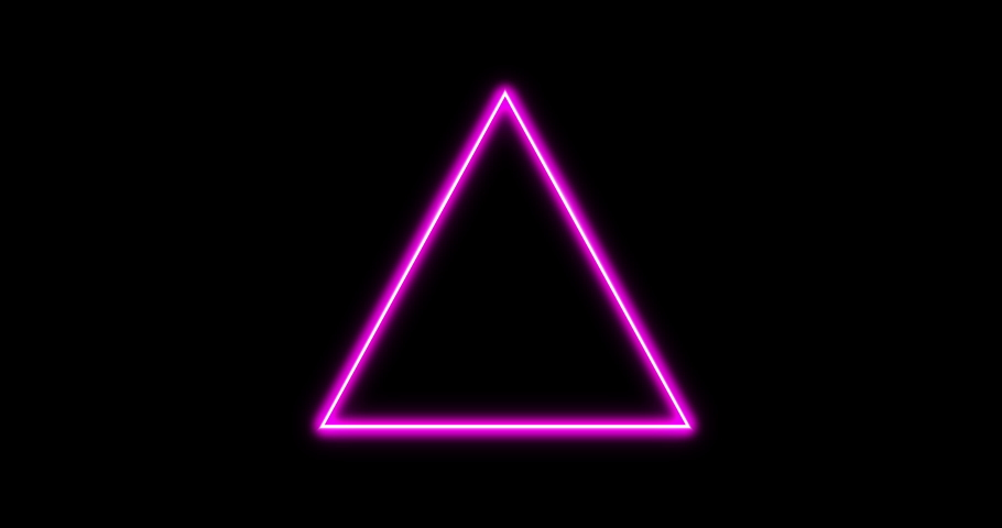 Retro 80's footage with shiny triangle neon effect. Futuristic vintage background Abstarct minimal neon effect with triangle. Black background easy to overlay. Pulsating triangle retro atmosphere   Shutterstock HD Video #1044956056
