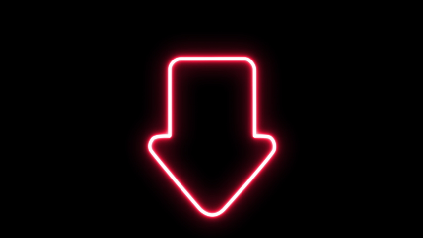 Down arrow glowing symbol outline looping on black background.   Shutterstock HD Video #1044956506