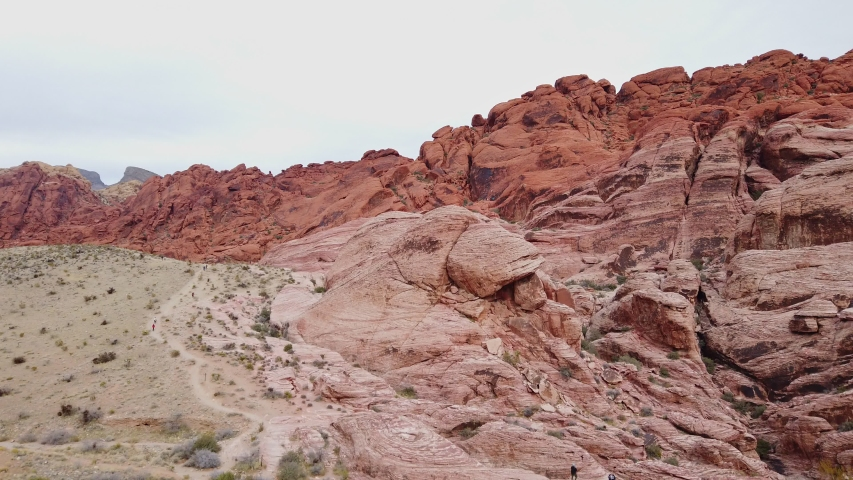 Cloudy day in the famous Red Rock Canyon at Nevada | Shutterstock HD Video #1045069246
