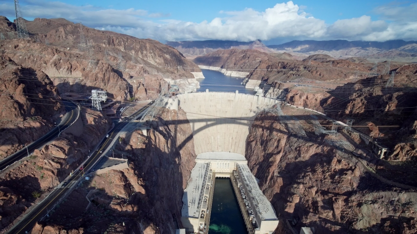 Afternoon high angle view of the famous Hoover Dam at Nevada | Shutterstock HD Video #1045069486