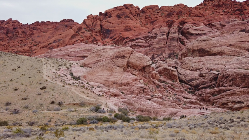 Cloudy day in the famous Red Rock Canyon at Nevada | Shutterstock HD Video #1045174756