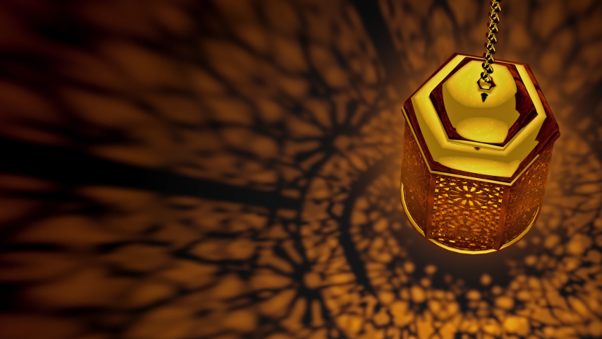 4K. Golden Ramadan candle lanterns loop animation (12 sec) Top View, There is a space on the left for your message text and logo. Top quality 3d animation. | Shutterstock HD Video #1045193566