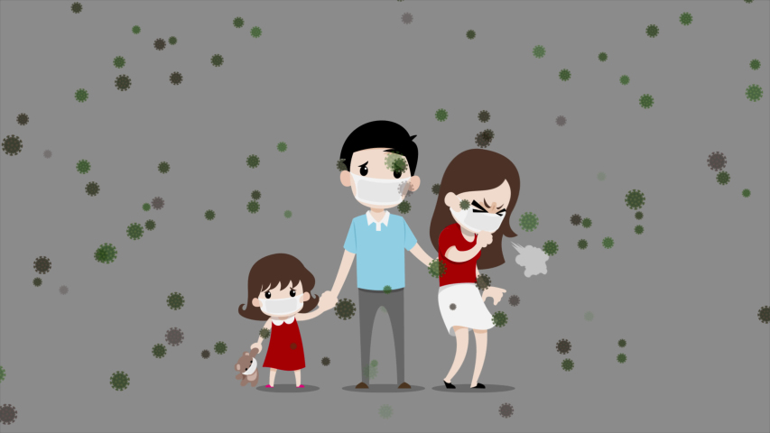 Families that has father, mother, daughters and brown bears doll wear masks that protect them from spread a lot of viruses in the air to reduce the risk of infection. 4K 60fps.   Shutterstock HD Video #1045301866