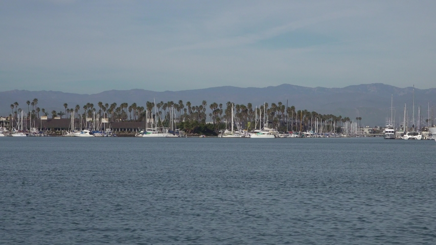 View of turning basin Channel Islands Harbor.    Shutterstock HD Video #1045410046