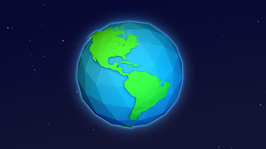 Seamless loop of Cute 3D rendering of a cartoon planet earth from space.  Clip contains space, planet, galaxy, stars, cosmos, sea, earth,  globe. 4k  | Shutterstock HD Video #1045433746