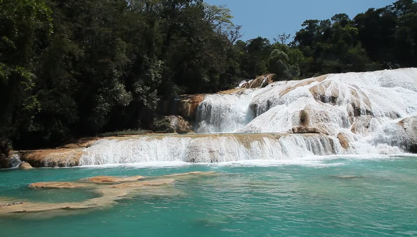 MEXICO - CHIAPAS - CIRCA APRIL 2015 - The magnificent Cascadas de Aqua Azul (Blue Water Falls) in Chiapas.