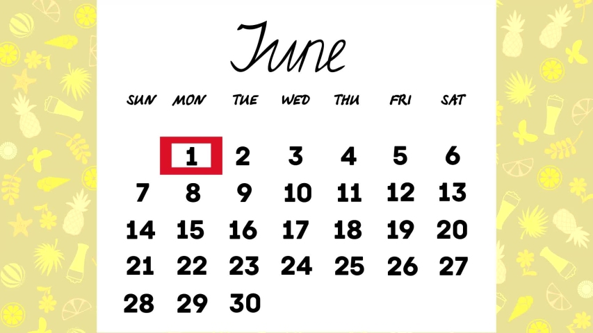 Calendar for June.the days of the month change in turn.animated video. | Shutterstock HD Video #1045826956