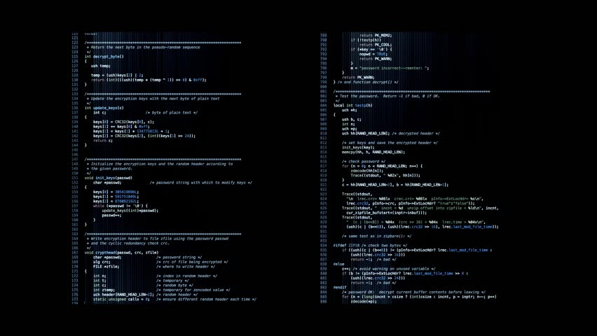 Program code. Scrolling program code in C language. The code was released into the public domain. | Shutterstock HD Video #10462514