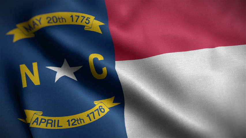 Closeup view of North Carolina state flag. The states great seal and symbol. One of the USA 50 states. Flag waving and blowing in wind. loopable 16 seconds video. High quality cloth textures.  | Shutterstock HD Video #1046668636