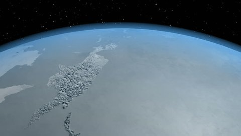 Ice Age ended, 3d animation in 4K. The texture map of the Earth was created in the graphic editor without photos and other images.