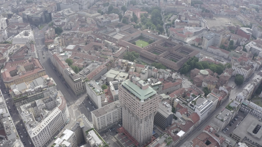D-Log. Milan, Italy. University of Milan. Roofs of the city aerial view, Aerial View | Shutterstock HD Video #1046734036