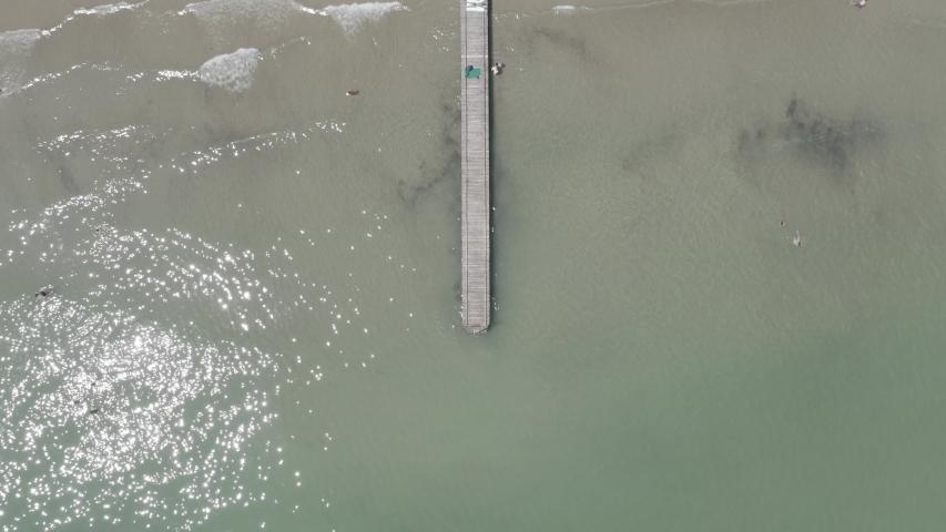 D-Log. Italy, Jesolo. Lido di Jesolo, or Jesolo Lido, is the beach area of the city of Jesolo in the province of Venice, Aerial View, HEAD OVER SHOT | Shutterstock HD Video #1046734066