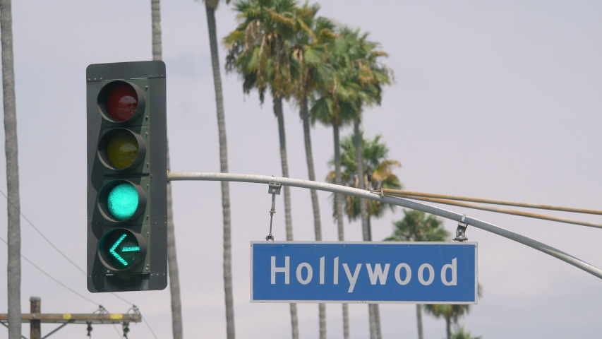 Hollywood boulevard street sign in 4k in slow motion 60fps  | Shutterstock HD Video #1046745016