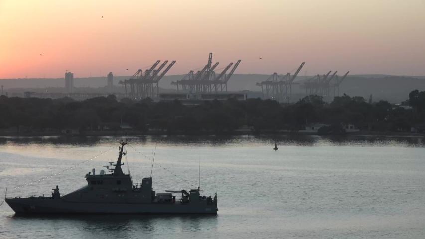 Harbor cranes at dawn. Transport technology. | Shutterstock HD Video #1047081376