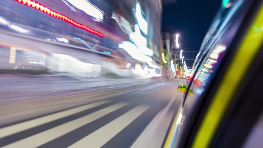 Fast motion time-lapse (hyperlapse) taxi ride through the Tokyo at night #10472036