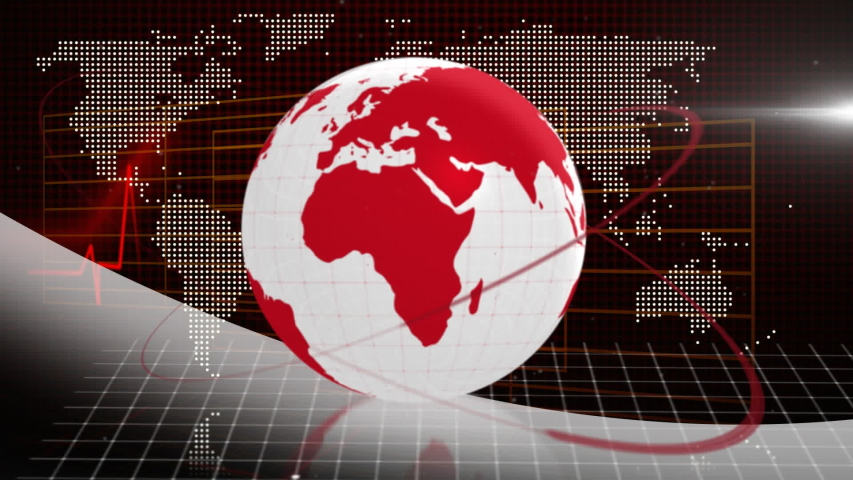 Animation of white and red digital globe rotating, information processing with red lines of heart beat rate moving and world map in the background. Global technology media and information network | Shutterstock HD Video #1047236446