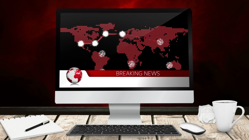Animation of the news screen with the words Breaking News written in red with red world map and location points displayed on computer monitor screen on a desk with on red background. Global technology | Shutterstock HD Video #1047238276