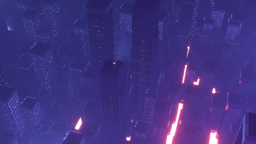 Seamless loop of sci fi futuristic virtual mega city at night with glowing lights from buildings and streets. Aerial view from left to right. For technology intro, vj music loop, techno visual art | Shutterstock HD Video #1048281046