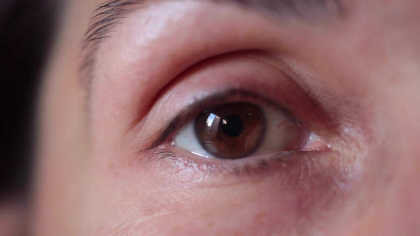 Close up macro brown eye opening human iris natural beauty | Shutterstock HD Video #1048795696