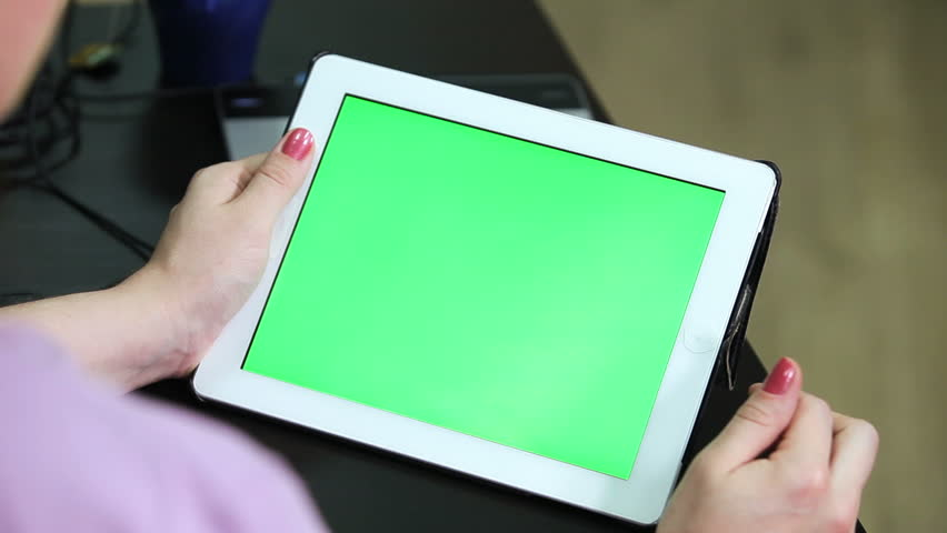 Gestures for the tablet and touchpad: hands swiping top from the down, green screen chromakey