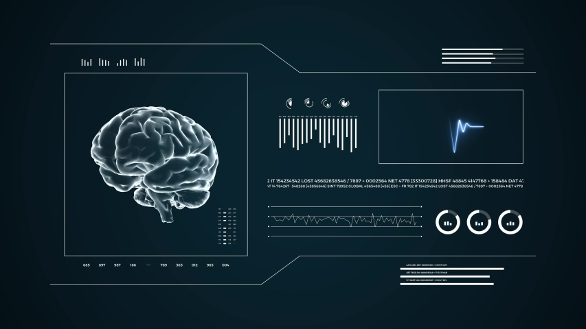 Medical UHD abstract animation. Laboratory dashboard interface 4K. Human brian study on diagnostic computer display.   Shutterstock HD Video #1049267176