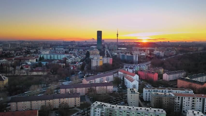 Munich city germany panoramic aerial skyline view in 4k. | Shutterstock HD Video #1049308906
