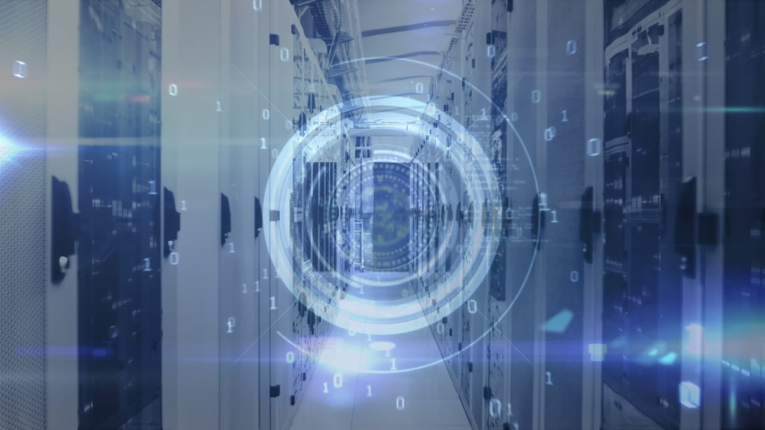 Animation of data processing and digital information flowing through network of computer servers in a server room with light trails flashing on surface. Global network of internet service provider or | Shutterstock HD Video #1049358946