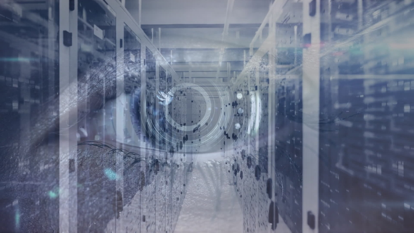 Animation of digital human eye, data processing and digital information flowing through network of computer servers in a server room with light trails flashing on surface. Global network of internet | Shutterstock HD Video #1049361886
