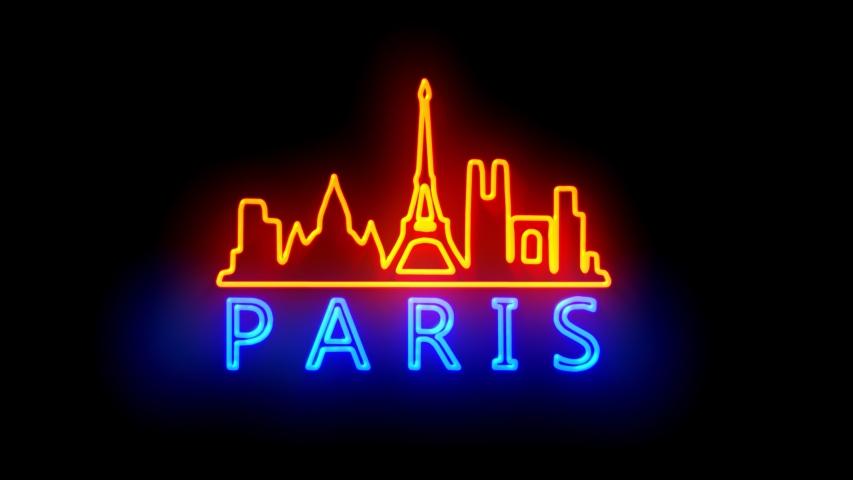 PARIS. neon lights backgrounds.  | Shutterstock HD Video #1049430196