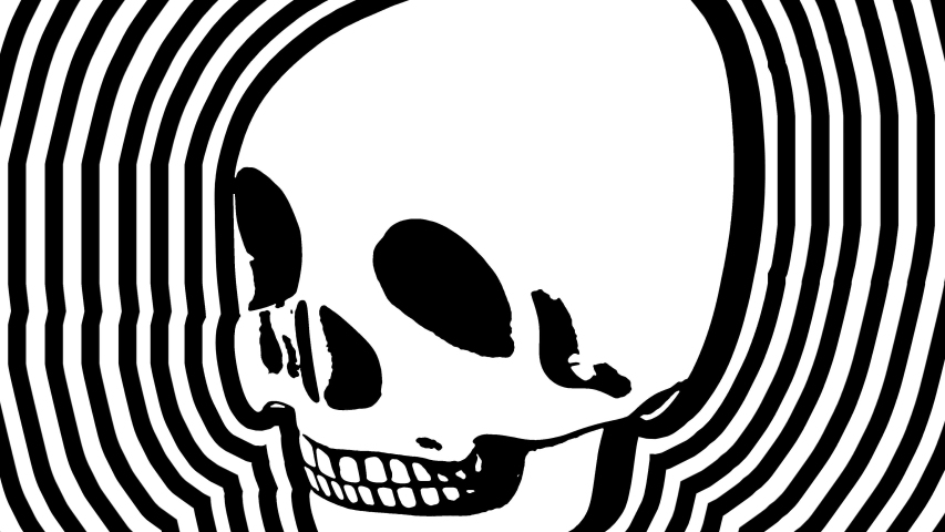 Animation psychedelic skull printed drawn style cartoon. Hypnotic halloween background with marker stroke effect in black and white. | Shutterstock HD Video #1049505556