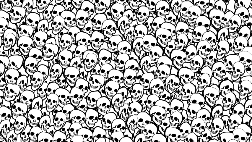 Seamless animation psychedelic skulls printed drawn style cartoon. Hypnotic halloween background with marker stroke effect in black and white. | Shutterstock HD Video #1049505586