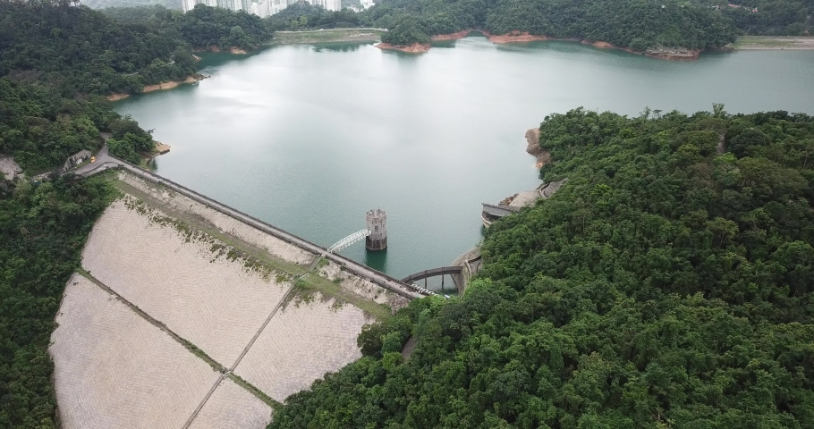 Aerial view of Discovery Bay on Lantau Island in Hong Kong | Shutterstock HD Video #1049561296