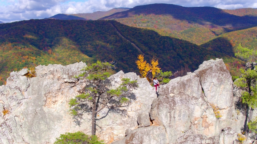 Hikers on Seneca Rocks, West Virginia, Aerial Drone View | Shutterstock HD Video #1049616496