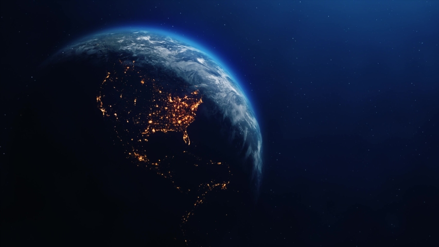 Realistic Motion Graphics of Planet Earth Rotating in the Night Starfield Intros, Endings, Logo Presentation, Background | Shutterstock HD Video #1049685076
