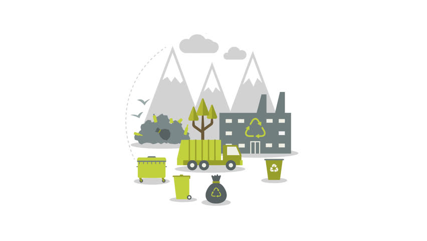 Ecologic recycling and waste utilization concept. Video animation, Full HD 1920x1080 #10518449
