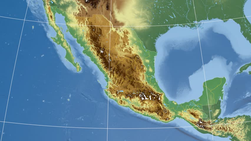 Jalisco State Extruded On The Physical Map Of Mexico Rivers And - Mexico physical map