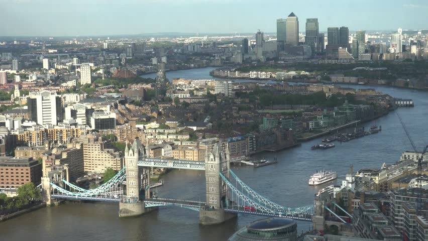 LONDON - ENGLAND, JUNE 5, 2015, ULTRA HD 4K Timelapse of boat pass under Tower Bridge lift and down suspension by day | Shutterstock HD Video #10539686