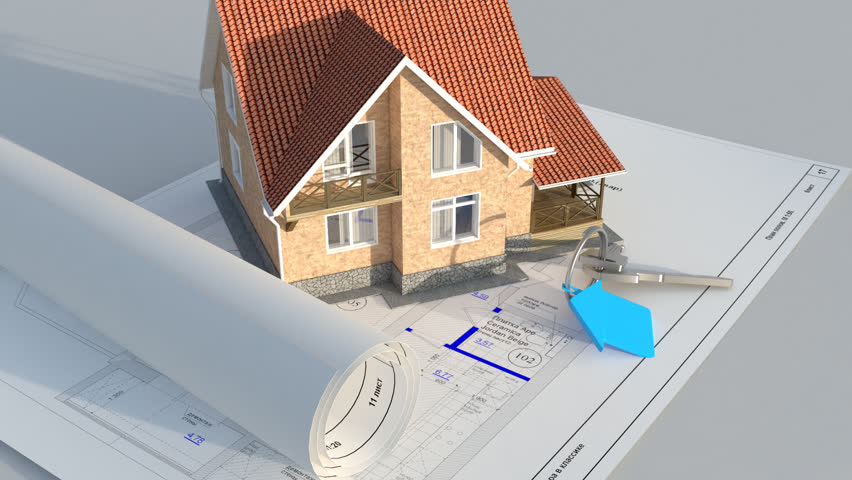 Architecture Blueprints 3d house model raised on plans turning with architecture tools stock