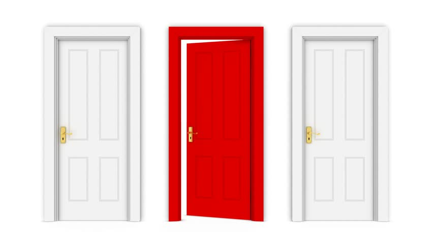 Door Opening To A Green Screen Background. Stock Footage