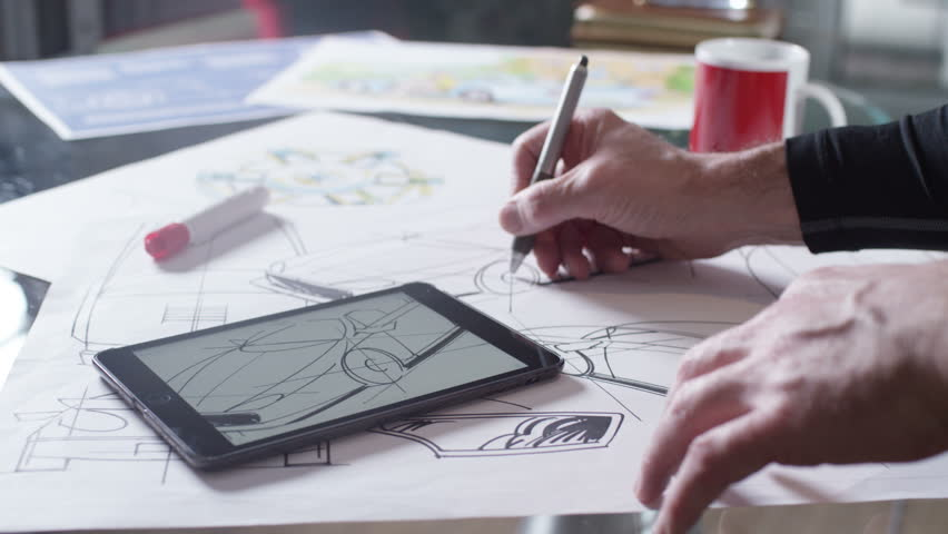 4K Hands using computer tablet with creative automotive design drawings | Shutterstock HD Video #10578056
