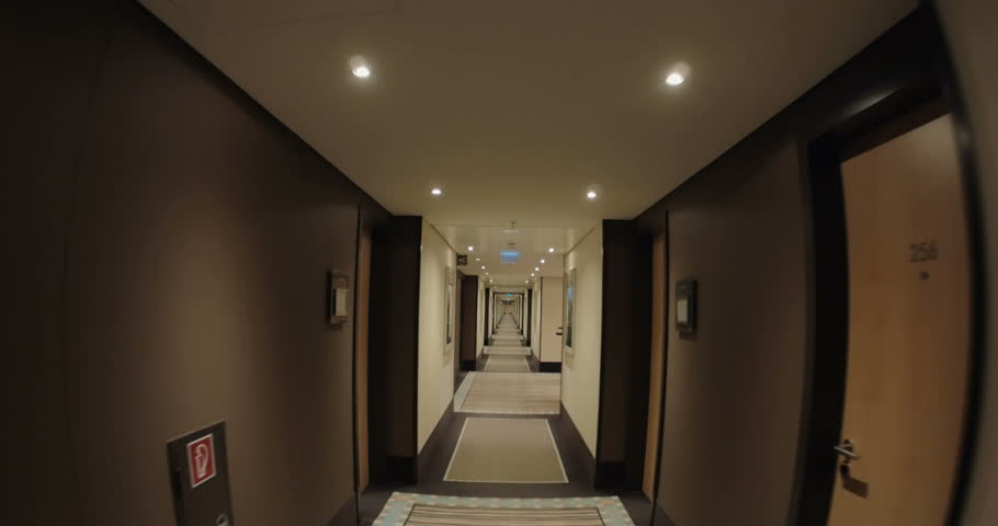 Scary Hallway Hotel Camera Travelling High Definition Pov
