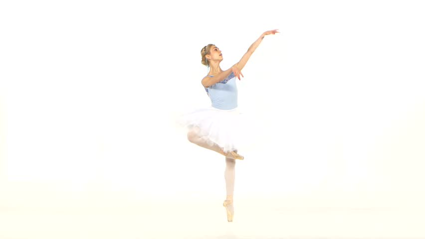 f6b4a8e8410b5 Beautiful female ballet dancer on a white background. Ballerina is wearing  tutu and pointe shoes