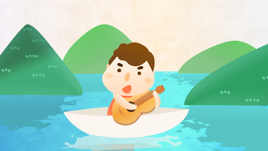 4K funny cartoon animation intro opening footage video clip of a happy adult  man, boy character playing guitar music and singing a song on a boat.