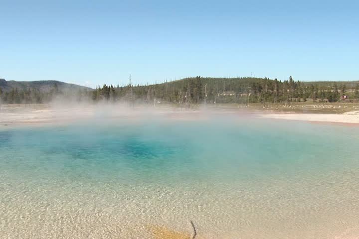 NTSC: Rainbow Pool. Extreme wide. Shot in Yellowstone National Park