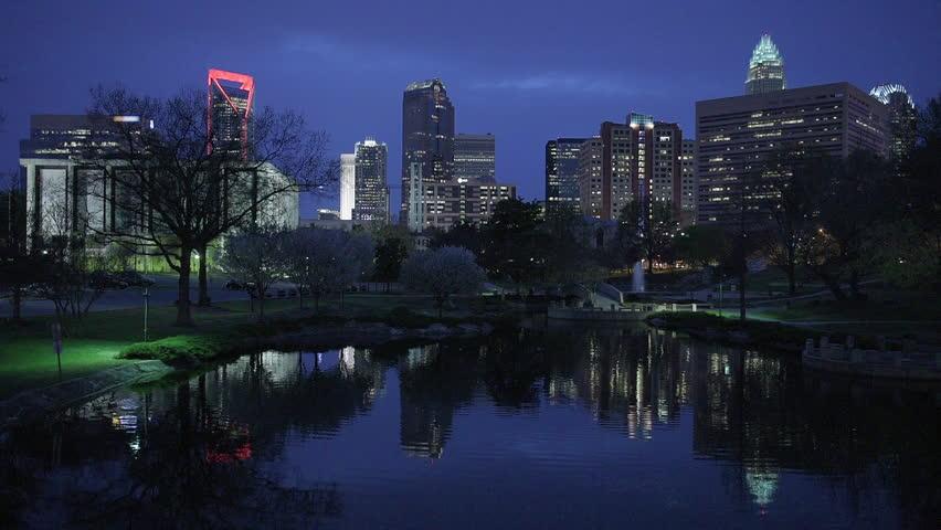 Charlotte, North Carolina, USA skyline at Marshall Park.