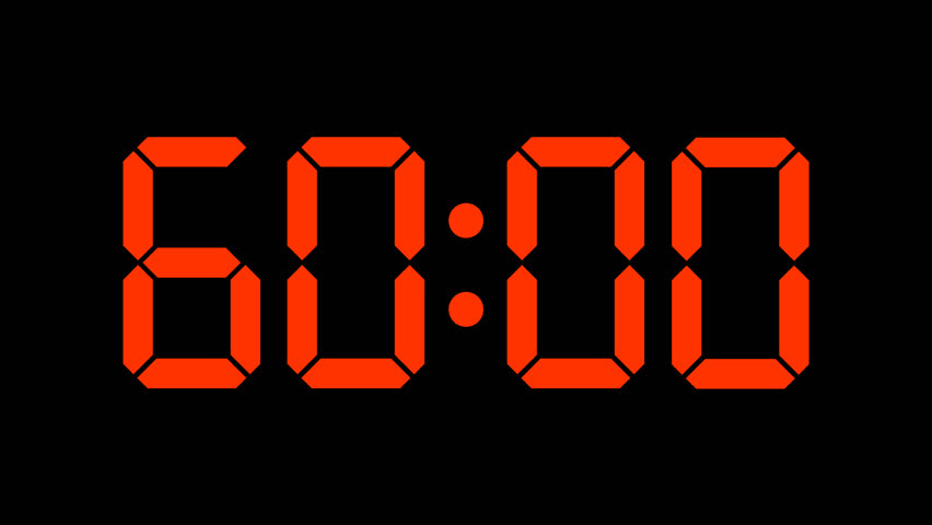 Digital countdown of 60 seconds, complete sixtieths: slow down 60x and get a one hour complete timer with minutes and seconds - 60 fps to avoid interpolation artifacts. Red numbers - arzawen.com/timer