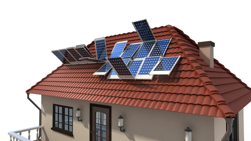 mounting solar panels on the roof 3d animation