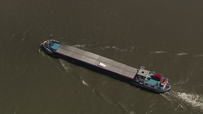 Aerial container ship on river #10711166
